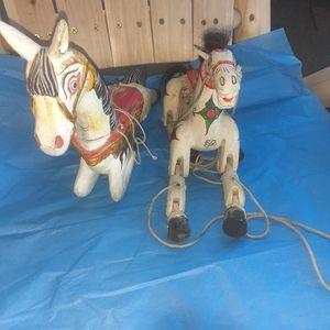2 vintage marionette horses 1913